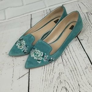 WHBM EMBROIDERED AVA FLORAL FLATS